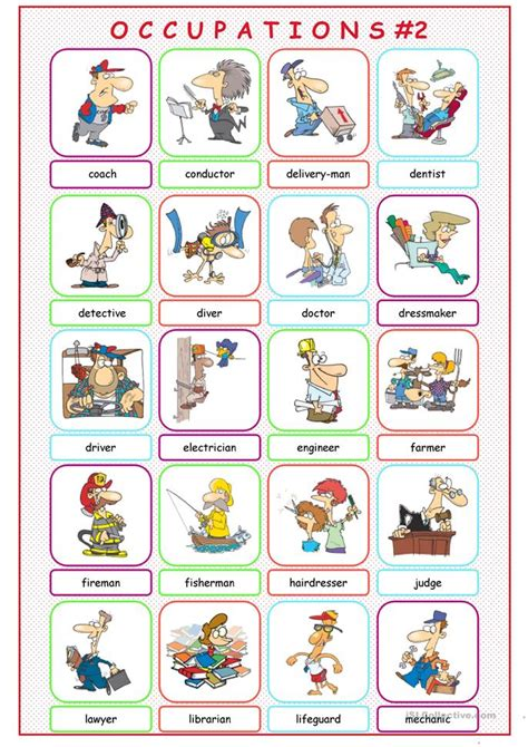 Occupations Picture Dictionary#2 worksheet - Free ESL