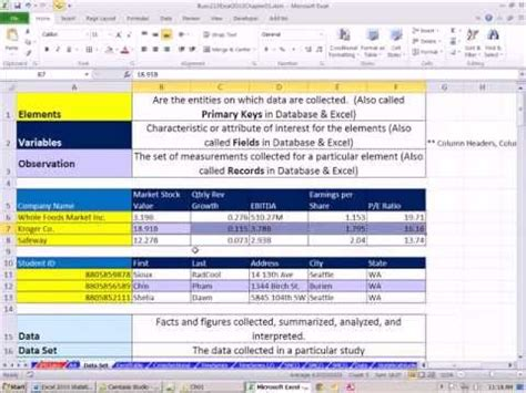 Cross sectional data set example