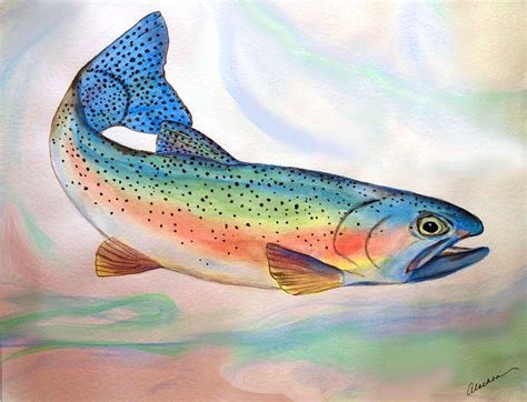 Full On Trout Painting by Alethea M